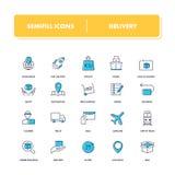 Kreskowe ikony ustawiać deliveryman ilustracji
