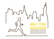Kreskowe sylwetki męski biegacz Działający maraton, plakatowy projekt royalty ilustracja