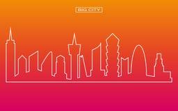 Kreskowego kształta panoramy miasta duży wektor z mrocznym nieba tłem Zdjęcia Stock