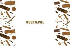 Kreskowego stylu ikony kolekcja - drewnianego odpady elementy ilustracji