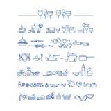 Kreskowego stylu ikony set jedzenia i naczynia picto ilustracja wektor