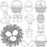 Kreskowej sztuki Easter czarny i biały ikona ustawia 13 elementu royalty ilustracja