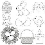 Kreskowej sztuki Easter czarny i biały ikona ustawia 9 elementów Obraz Stock