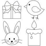 Kreskowej sztuki Easter ikony czarny i biały ustalonego kurczaka królika twarzy pisklęca świeczka, prezenta pudełko Zdjęcie Stock