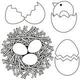 Kreskowej sztuki Easter ikony czarny i biały ustalonego kurczaka gniazdowa jajeczna skorupa Zdjęcia Stock
