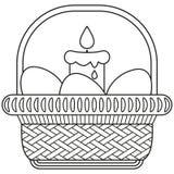 Kreskowej sztuki Easter jajka świeczki łozinowego kosza ikony czarny i biały plakat Fotografia Stock
