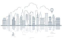 Kreskowej sztuki miasta drapaczy chmur Miastowi domy nawadniają niebo v Zdjęcie Stock