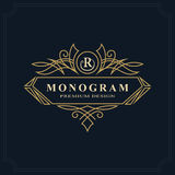 Kreskowej sztuki monograma luksusowy projekt, pełen wdzięku szablon Kaligraficzny elegancki piękny logo Listowy emblemata znak R  ilustracji