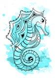 Kreskowej sztuki ręka rysuje czarnego dennego konia odizolowywającego na białym tle z błękitną akwarelą zaplamia Doodle styl Tatu Zdjęcia Stock
