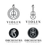 Kreskowej sztuki skrzypce, Wiolonczelowa logo projekta inspiracja/- Wektorowa ilustracja ilustracja wektor