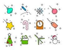 Kreskowej sztuki Wakacyjne Bożenarodzeniowe ikony Ustawiać Wektoru Ustalonego nowego roku Wakacyjne Nowożytne Kreskowe ikony dla  royalty ilustracja