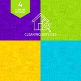 Kreskowi Cleaning usługa wzory Zdjęcia Stock