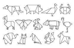 Kreskowi origami zwierzęta Abstrakcjonistyczni wieloboków zwierzęta, składający papier kształtują, nowożytni Japan projekta szabl ilustracji
