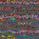 Kreskowy horyzontalny rysunkowy bezszwowy wzór Zdjęcia Stock