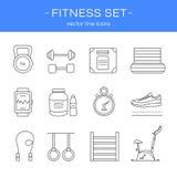 Kreskowy ikony gym, sprawność fizyczna i ilustracja wektor