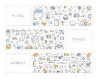 Kreskowy pojęcie dla wycieczkować, podróży i zwierząt, ilustracja wektor