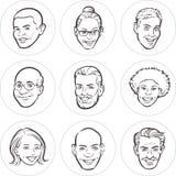 Kreskowy rysunek różnorodni ludzie twarzy ilustracja wektor