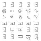 30 Kreskowych Mobilnych ikon Obraz Stock