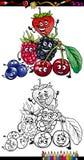 Kreskówek jagodowe owoc dla kolorystyki książki Obrazy Stock
