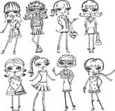 Kreskówek modne dziewczyny Obraz Stock