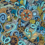 Kreskówek pociągany ręcznie nautycznych doodles bezszwowy wzór Obrazy Stock