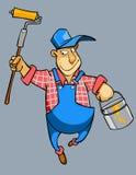 Kreskówka domowego malarza męski pracownik w mundurze Zdjęcia Royalty Free