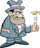 Kreskówka gangster podrzuca monetę. Zdjęcia Stock