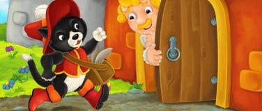 Kreskówka kot odwiedza królewiątko w jego kasztelu - opowiadający sługa blisko wejścia Zdjęcie Stock