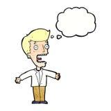 kreskówka krzyczący mężczyzna z myśl bąblem Obraz Stock