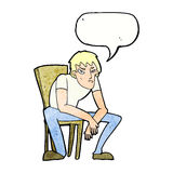 kreskówka oklapnięty mężczyzna z mowa bąblem Obrazy Stock