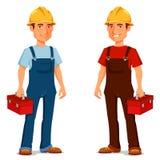 Kreskówka pracownik budowlany lub repairman Zdjęcia Royalty Free