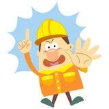 Kreskówka pracownik budowlany z białym tłem Zdjęcia Royalty Free