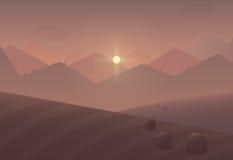 Kreskówka zmierzchu góry krajobrazu tło z drzewami i polami Obraz Royalty Free