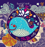 Kreskówki ilustracja z wielorybem Zdjęcia Royalty Free