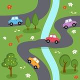 Kreskówki mapy Bezszwowy wzór Zdjęcie Stock