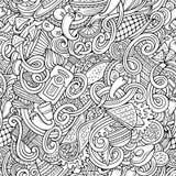 Kreskówki meksykański jedzenie doodles bezszwowego wzór Zdjęcia Stock