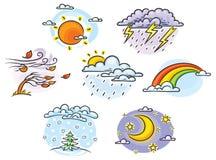 Kreskówki pogody set Zdjęcia Royalty Free