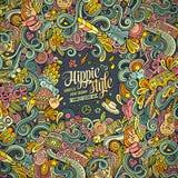 Kreskówki ręka rysująca doodles hipis ilustrację Kolorowy detaile Zdjęcia Royalty Free