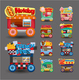 Kreskówki rynku sklepu samochodowa ikony kolekcja Fotografia Royalty Free