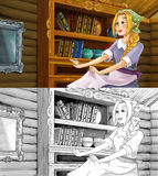 Kreskówki scena dla różnych bajek tanczy w pokoju z dodatkową kolorystyki stroną - - młoda dziewczyna ubierał brudnego - Zdjęcia Stock