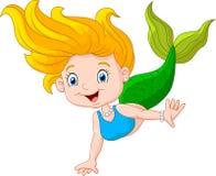 Kreskówki szczęśliwa mała syrenka na białym tle Zdjęcia Royalty Free