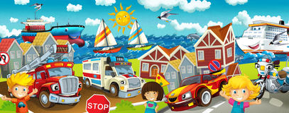 Kreskówki ulica - ilustracja dla dzieci Zdjęcie Stock
