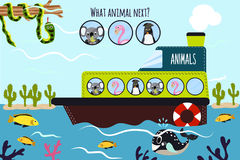 Kreskówki Wektorowa ilustracja edukacja kontynuuje logiczne serie colourful zwierzęta na łodzi w oceanie wśród morza fi Zdjęcia Royalty Free
