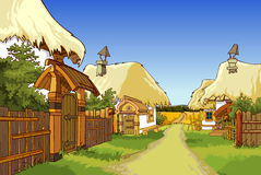 Kreskówki wioski ulica z domami Zdjęcia Stock