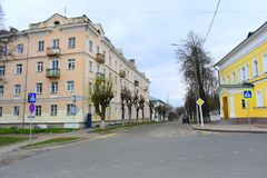 Krestyanskaya street small — consists of only two blocks on each side, and almost a quarter is a square. Ex. Governor`s garden, broken at the beginning royalty free stock photography