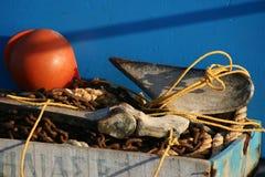 Kreta/Detail eines Fischerbootes Stockbilder