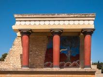 Kreta Grekland för ingång för Knossos slott norr Arkivbild