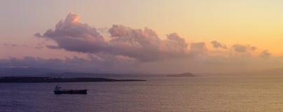 Krete, Греция, заход солнца Стоковая Фотография RF