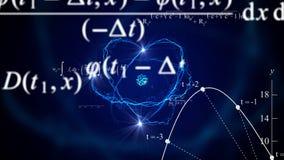 Kretsad animerad abstrakt bakgrund för flygmatematik formler vektor illustrationer