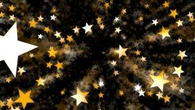 Kretsad animering av guld- konfettier i form av stjärnan vektor illustrationer